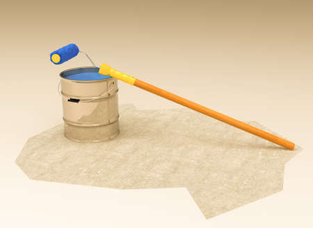 3d illustration of a bucket of paint and a paint roller