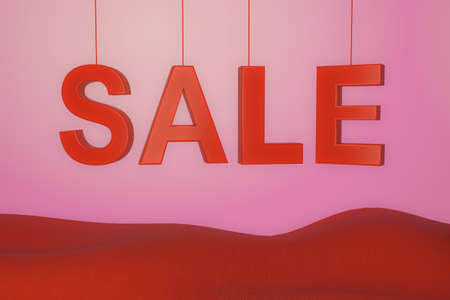 3d illustration inscription sale in red letters on a pink background 免版税图像