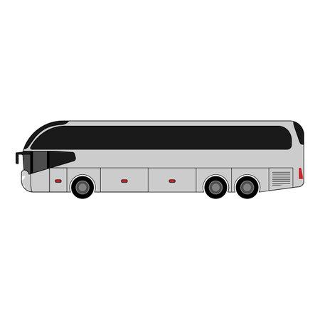 White passenger tourist bus icon on white background 矢量图像