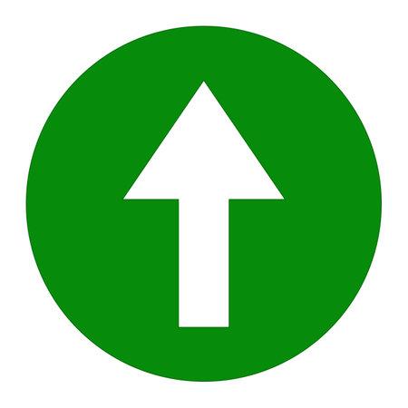 White up arrow icon on green background round shape