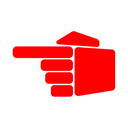 Direction red hand to the left on white background 矢量图像