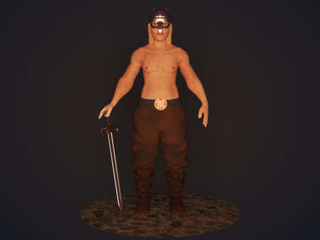 3D illustration of a viking with a sword on a dark background 免版税图像