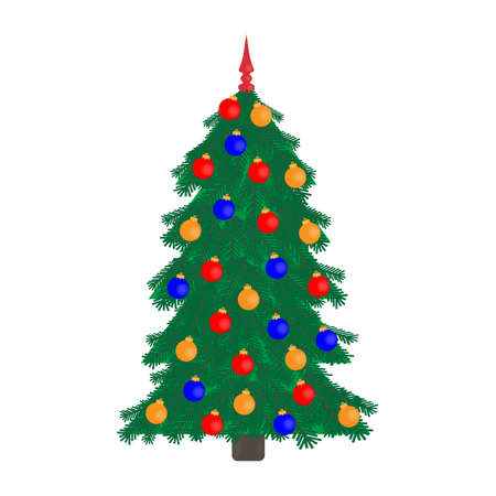 Christmas tree icon with Christmas decorations on white background 일러스트
