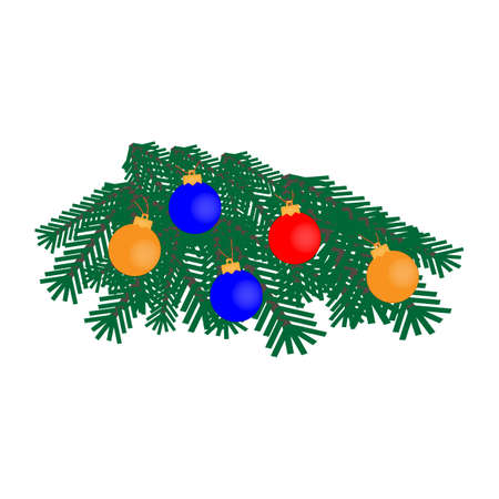 Christmas tree branch icon with festive Christmas decorations on white background
