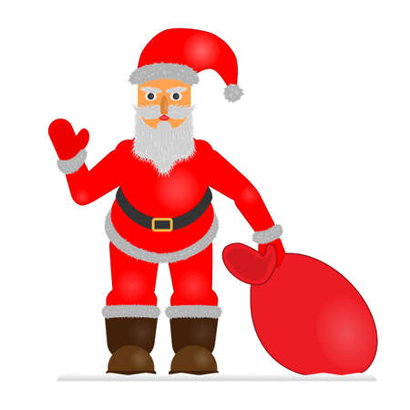 Christmas icon Santa Claus with a bag of gifts on a white background