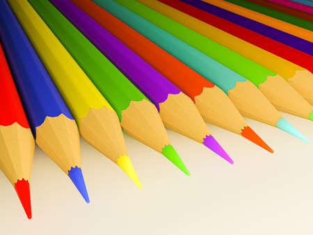 3d illustration of many colored pencils on white background