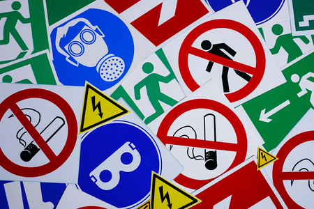 Safety signs and symbols. Health and safety signs and symbols in the workplace 스톡 콘텐츠