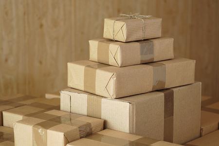 Postal parcels. Ð¡ardboard boxes of merchandise for shipment to international destinations