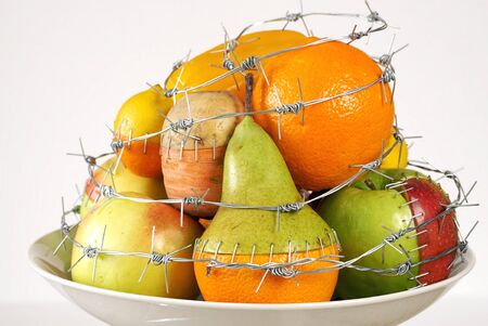 GMO foods. GMO concept genetically altered or modified food. Hybrids of fruits and vegetables