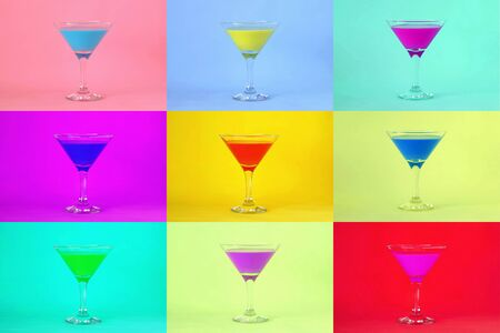Multicolored cocktails. Cocktail party background 스톡 콘텐츠