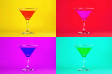 Cocktail background. Martini cocktail glasses 스톡 콘텐츠