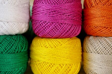Balls of colored yarn. Yarn for knitting of different colors