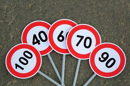 Speed limit road signs. Road safety concept