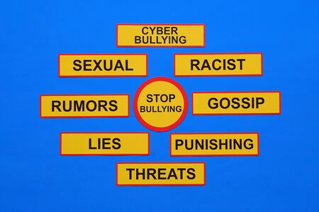 Bullying concept - rumors, discredit, racist, threat, harassment, lies, impersonate, gossip, violent and other