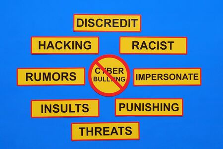 Cyber bullying concept - rumors, discredit, racist, threat, harassment, lies, impersonate, gossip, violent and other
