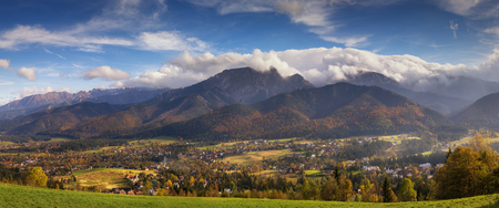 zakopane: Autumn panorama of High Tatra mountains and Zakopane, Poland