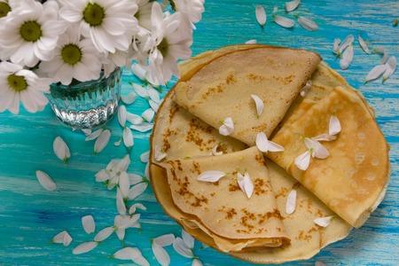 shrove: Shrove Tuesday, pancake day, Breakfast, top view, a bouquet  daisies