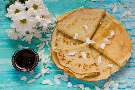 shrove: Shrove Tuesday, pancake day, Breakfast, top view,  bouquet of daisies Stock Photo