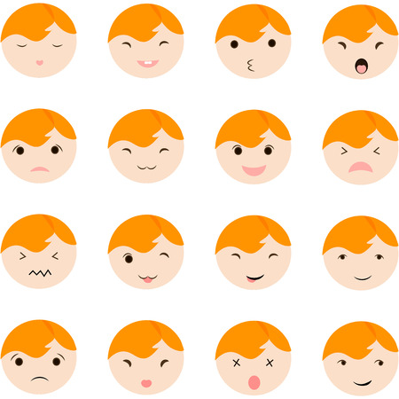 teases: Set of cute baby emoticons. Cute baby faces showing different emotions. icons on a white background. Modern flat style.
