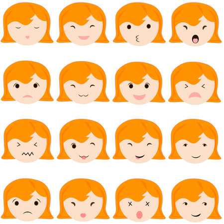 Emoticon icons set of cute girl with various emotions, emoji, facial, feeling, mood, personality, symbol