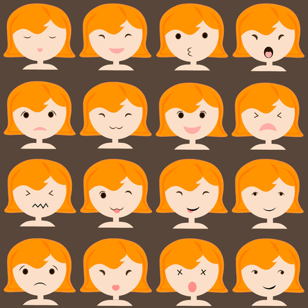 emotions: Emoticon icons set of cute girl with various emotions, emoji, facial, feeling, mood, personality, symbol