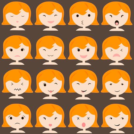 fille pleure: ic�nes �motic�nes ensemble de fille mignonne avec des �motions diverses, emoji, facial, sentiment, de l'humeur, de la personnalit�, symbole