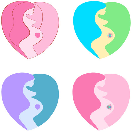 awaiting: icon pregnant women belly lady silhouette,  stylized symbol