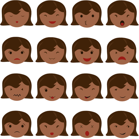 girl tongue: Emoticon icons set of cute girl with various emotions, emoji, facial, feeling, mood, personality, symbol African American, Asian, Indian