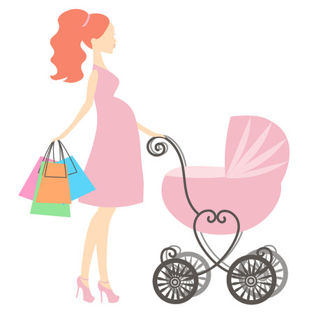 shopping buggy: vector illustration of modern pregnant mommy with a vintage baby carriage, the woman does the shopping online store, silhouette, stylized symbol of mothers, icon on white background