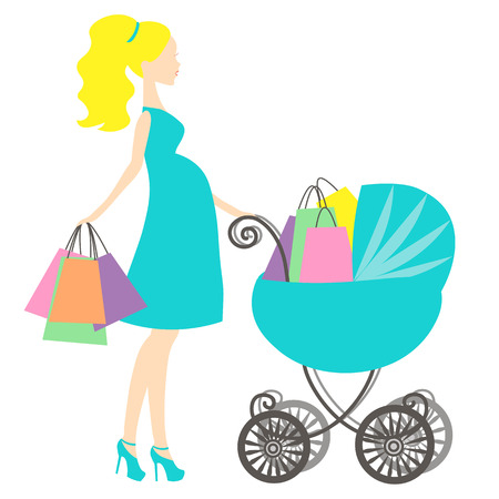 shopping buggy: vector illustration of modern pregnant mommy with pink vintage  baby carriage, the woman does the shopping online store,silhouette, stylized symbol of mothers, sale icon on white background
