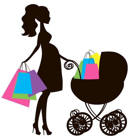 shopping buggy: vector illustration of modern pregnant mommy with pink vintage  baby carriage, the woman does the shopping online store, silhouette, stylized symbol of mothers, sale icon on white background Illustration