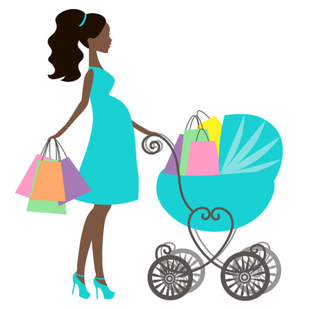 shopping carriage: vector of modern pregnant mommy with vintage  baby carriage, online store, silhouette, sale icon on white background, African American girl stores, black woman shopping