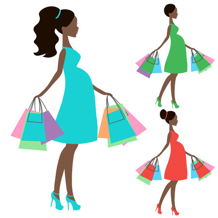 shopping buggy: vector of modern pregnant mommy with vintage  baby carriage, online store, silhouette, sale icon on white background, African American girl stores, black woman shopping