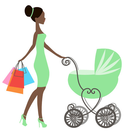 shopping carriage: vector of modern  mommy with vintage  baby carriage, online store, silhouette, sale icon on white background, African American girl stores, black woman shopping