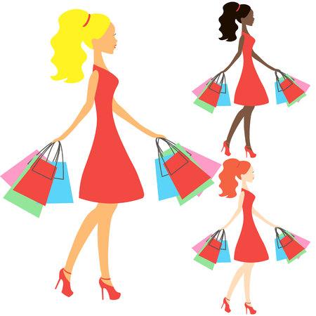 Niñas de diferentes nacionalidades vector, silueta tienda en línea, icono de la venta en fondo blanco, las tiendas de niña afroamericana, mujer de compras negro Foto de archivo - 53215700
