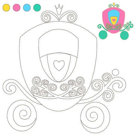 infancy: Coloring Book or Page Cartoon Illustration carriage Princess for Children Education.  vector to be traced. Restore dashed line and color the picture. Trace game for children