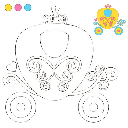 under the bed: Coloring Book or Page Cartoon Illustration carriage Princess for Children Education.  vector to be traced. Restore dashed line and color the picture. Trace game for children