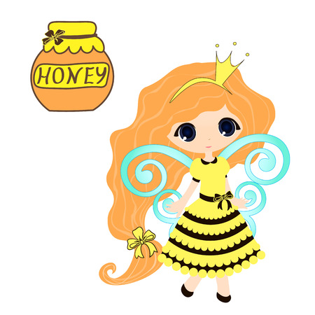 honey blonde: honey collection Organic product design. Vector cute hand drawing honey jar illustration on the background of honeycomb, Spa center design. icon, logo