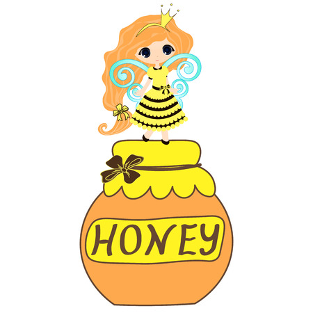 blonde blue eyes: honey collection Organic product design. Vector cute hand drawing honey jar illustration on the background of honeycomb, Spa center design. icon, logo