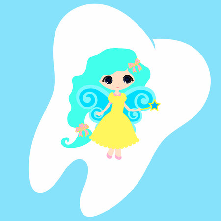 fairy tale princess: Cute cartoon tooth smiling, Princess Card little happy Tooth Fairy, white on a blue background, teeth vector icon illustration, first tooth logo