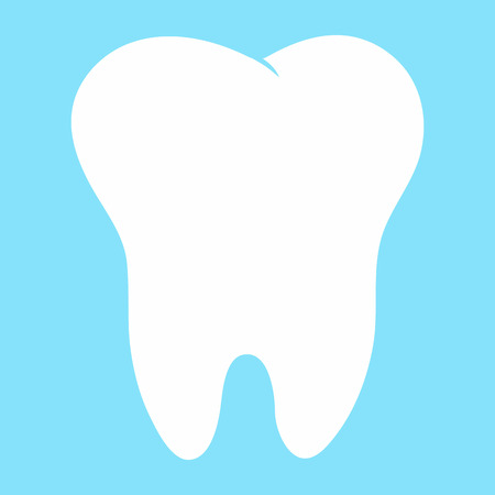 tooth mascot: Cute cartoon tooth smiling Card little happy Tooth Fairy, white on a blue background, teeth vector icon illustration, first tooth logo