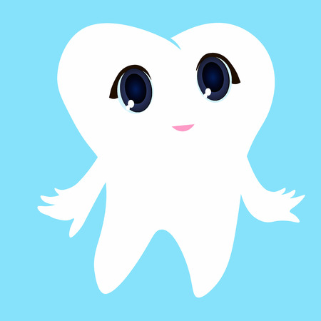 Cute cartoon tooth smiling Card little happy Tooth Fairy, white on a blue background, teeth vector icon illustration, first tooth logo