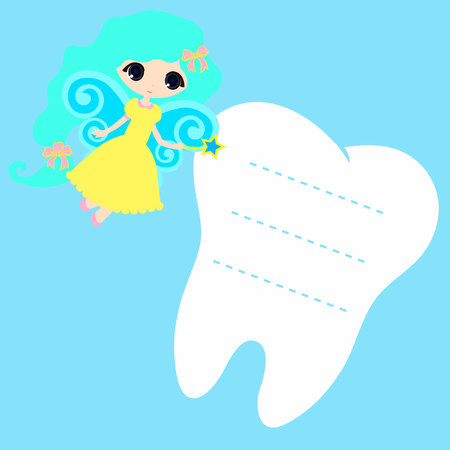 fairy tale princess: Cute cartoon Fairy smiling, Princess Card little happy Tooth Fairy, white on a blue background, teeth vector icon illustration, first tooth logo
