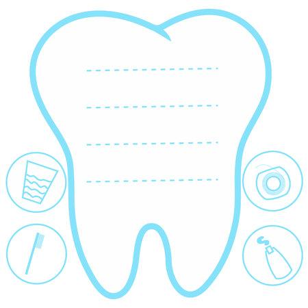 diente caricatura: Hada linda de la historieta que sonríe, Tarjeta de la princesa hada de los dientes poco feliz, blanco sobre un fondo azul, los dientes de vector icono, el primer diente, maqueta, el lugar de texto