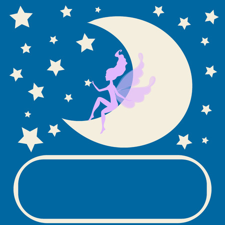 one girl only: Dream fairytale grunge design for your love card.  background with a fairy Silhouette sitting on the moon among the stars. Vector drawing elf silhouette  romantic girl  print. Cute magic collection with princess,  invitation, children or wedding