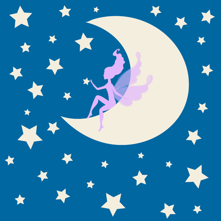 teenagers only: Dream fairytale grunge design for your love card.  background with a fairy Silhouette sitting on the moon among the stars. Vector drawing elf silhouette  romantic girl  print. Cute magic collection with princess,  invitation, children or wedding