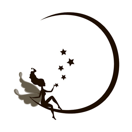 teenagers only: Dream fairytale grunge design for your love card.  background with a fairy Silhouette sitting on the moon among the stars. Vector illustration isolated on white background. drawing elf silhouette  romantic girl  print. Cute magic collection with princess,
