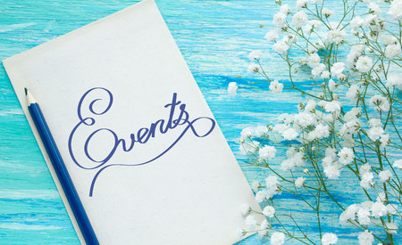 current events: Events  Inspirational quote womens hand lettering for posters writing notebook note turquoise wooden background Word refer news, current affairs, special occasions business planning