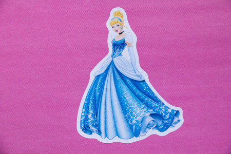 rapunzel: Moscow, Russia - 03, 29, 2016: Photo of Walt  Disney Princess Cinderella stickers for girls, Editorial cartoon characters from books and movies Editorial