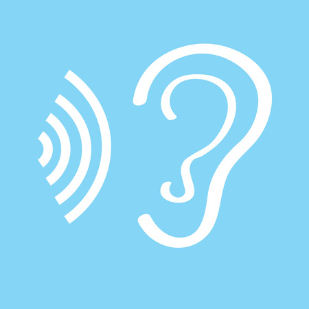 Human ear sign icon on white background.
